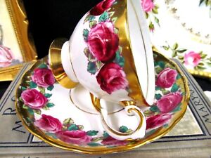 Tuscan Tea Cup And Saucer Painted Red Roses Gold Gilt Pattern Teacup Footed