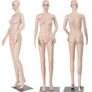 68 9 Female Mannequin Plastic Realistic Display Head Turns Dress Form Iron Base