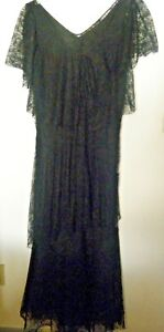 Victorian Authentic Mourning Chantilly Black Lace Beautiful Layered Long Dress