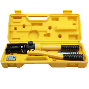 10 Ton Hydraulic Wire Terminal Crimper Battery Cable Lug Crimping Tool W dies