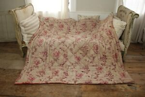 Quilt Antique 1900 Art Nouveau French Hand Stitched Wool Batting Printed Cotton