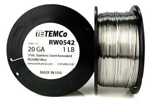 Temco Stainless Steel Wire Ss 316l 20 Gauge 1 Lb Non resistance Awg Ga