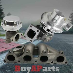 T3 T4 57 Turbo Bottom Mount Manifold Chorme Wastegate For D Series Honda Civic