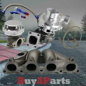 T3 T4 Turbo Manifold Chrome Wastegate Oil Feed Return Line For D Series Civic