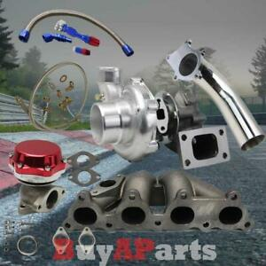 T3 t4 Turbo manifold red Wastegate oil Feed Return Line downpipe For Honda Crx