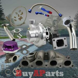D Series T3 T4 Turbocharger Kit Manifold Oil Line Hose Down Pipe Purple Wastega