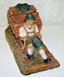 Antique Wood Carved Swiss Alps Man With Sleigh Full Of Logs