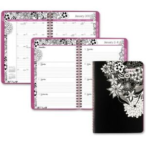 At a glance 6 5 X 8 9 In Flora Doodle Desk Weekly Monthly Planner 2017 2018