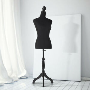 Female Mannequin Dress Body Form Simple Cover And Tripod Wood Base Black Y5w1