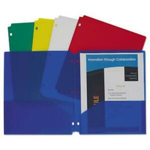 Two pocket Heavyweight Poly Portfolio Folder 3 hole Punch Letter Assorted 1