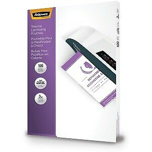 Fellowes Legal 100 pack 9 x14 1 2 3 Mil Laminating Pouches W Two Carriers
