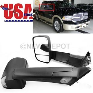 Power Heated W Signal puddle Lamp Tow Side Mirror For Dodge Ram 2500 3500 10 12
