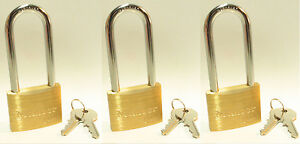 Lock Set By Master 4150kalj lot 3 Keyed Alike Long 2 1 2 Shackle Brass Body