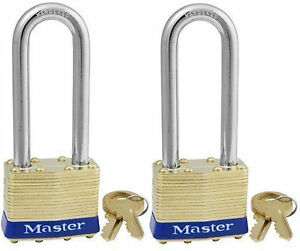 Locks By Master Brass 2kalj lot 2 Keyed Alike 2 Long Shackle Fast Shipping