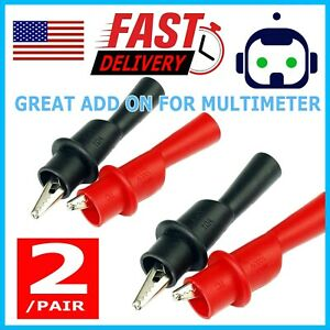 2 Pair Alligator Crocodile Test Clip Clamp For Fluke Multimeter Tester Probe Hi