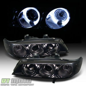 For Smoked 1994 1997 Honda Accord 2 4dr Led Halo Projector Headlights Left Right