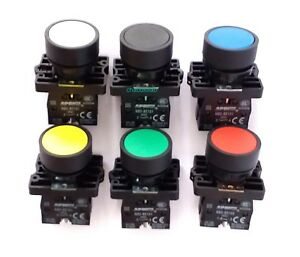 12 Pcs 6 Color Hq Round Flat Momentary Pushbutton Switches