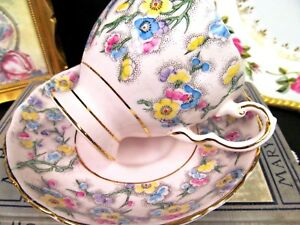 Tuscan Tea Cup And Saucer Pink Blossom Beaded Painted Teacup Cup Saucer Br