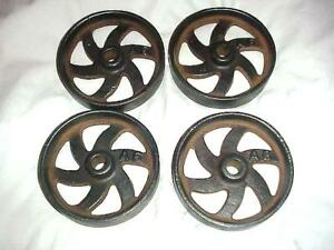 4 Real Old Cast Iron Wheels Hit Miss Gas Engine Steam Punk Industrial Cart Fancy