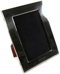 Vintage Gucci Italian Sterling Silver Photo Picture Frame Mahogany Easel Back