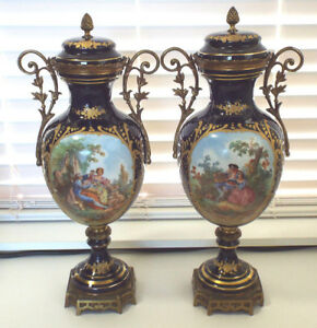Antique Sevres Style 2 Royal Blue Hand Painted Porcelain Covered Urns Luce 18
