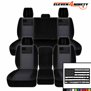 2011 2018 Dodge Ram 1500 Car Seat Covers Black Charcoal W Tattered Flag Design