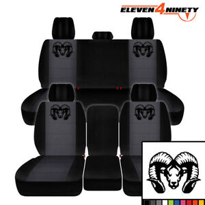 2011 2018 Dodge Ram 1500 Car Seat Covers Black Charcoal W Longhorn Ram Design