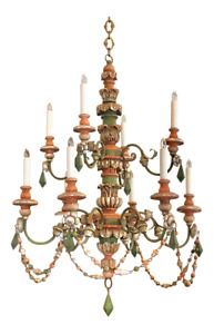 Ten Light Carved Wood Venetian Chandelier With Colorful Detail