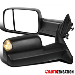 09 12 Dodge Ram 1500 Heated Flip Up Tow Mirrors led Puddle Turn Signal Lights