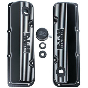 M 6582 C351bk Mustang Ford Racing Valve Cover 351 Cleveland Black Finned Pair 35