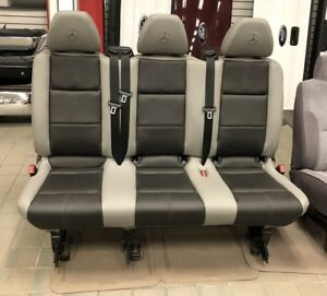 16 18 Mercedes Benz Metris Van Aftermarket Gray char Leather 3 pass Bench Seat
