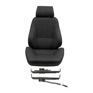 Procar Rally Recliner Bucket Seat Driver Side Black Vinyl For 1965 2004 Mustang