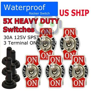 X5 Toggle Switch Heavy Duty 20a 125v Spst 3terminal On off on Car Waterproof