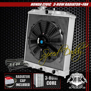 3 Row Core Aluminum Radiator 12 Black Cooling Fan 92 00 Honda Civic Eg Integra
