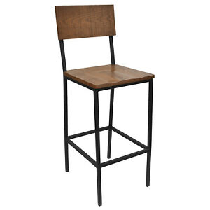 New Henry Steel Bar Stool With Distressed Wood Seat And Back