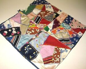Early 1900 S Vintage Silk Patchwork Crazy Quilt Throw Pillow Cover Needs Work