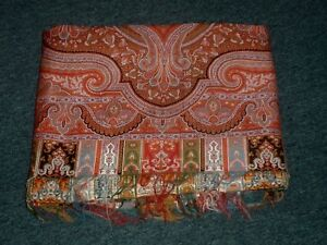 Huge Antique Scottish Paisley Throw Shawl 127 Inches Over 10 Feet