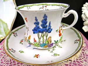 Tuscan Tea Cup And Saucer Floral Butterfly Pattern Teacup Waisted Design Painted