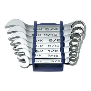 S K Hand Tools 86237 7pc Stubby Sae Wrench Set