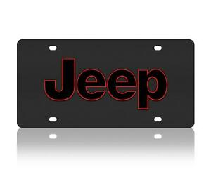 Jeep Red Outline Genuine Carbon Stainless Steel 3d Logo Finish License Plate