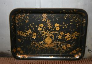 Antique Large Hand Painted Tole Tray Toleware Rare Designs W Gold Detail