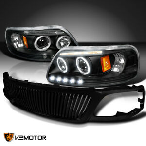 Fit 1999 2002 Ford Expedition F150 Led Halo Projector Headlights Vertical Grille