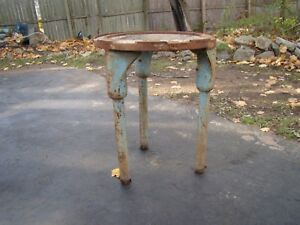 Rare Vintage Industrial Cast Iron Round Base 3 Leg Industrial Base Repurpose It
