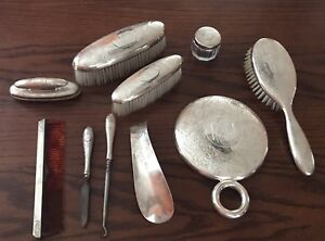Antique Sterling 10 Pc Dresser Set Mirror Brushes Powder Jar Shoe Horn Vanity