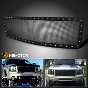 For 2007 2013 Gmc Sierra 1500 Black Texture Rivet Style Upper Mesh Grille Insert