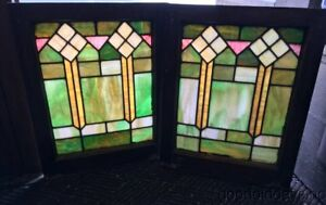 Nice Pair Of Colorful Stained Leaded Glass Windows 25 By 20 Circa 1925