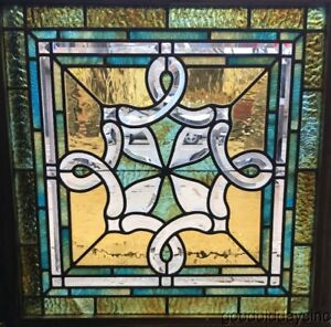 Antique Chicago Beveled Stained Leaded Glass Window Beautiful Glass 27 X 27
