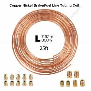 25 Ft Roll Coil Of 3 16 Od Copper Nickel Brake Line Tubing Kit With Fittings