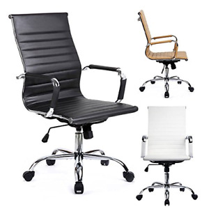 Gtpoffice Desk Chair Ribbed Conference Office Chair Modern Swivel Leather High