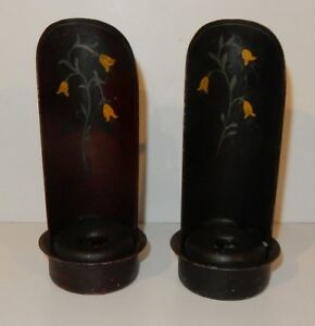 Pair Of Antique Toleware Wrought Iron Candle Sconces Wall Shelf Go To Bed